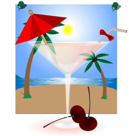 against the backdrop of photos from the summer landscape with a large glass of cocktail and two cherries Vector