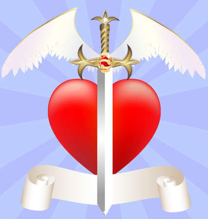 sword and heart: on blue abstract background of a large scarlet heart and feathered ceremonial sword