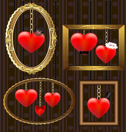 on the wall is a frame with hearts, representing the family members Vector