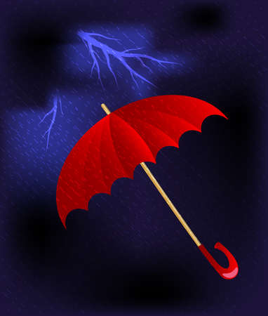 umbel: against the background of stormy dark sky is a big red umbrella