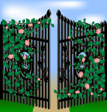 input output: old gates, overgrown with pink roses, green leaves