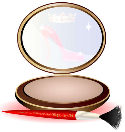 a large round powder and red cosmetic brush Vector