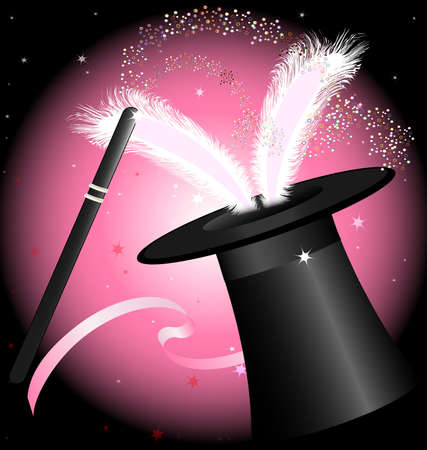 in black and pink background big hat magician, from which protrude bunny ears and magic wand