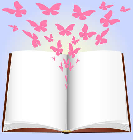 libros volando: sobre un fondo azul tiene un gran libro abierto, de la que emerge mariposa Rosa abstracta