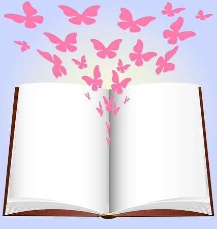 papillon rose: sur un fond bleu a un grand livre ouvert, d'o� �mergent abstraite papillon rose
