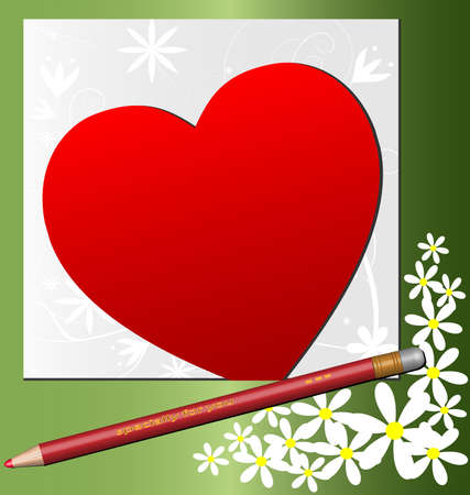 in a green frame with the flowers have a letter in the form of crimson hearts and pencil Stock Vector - 9513732