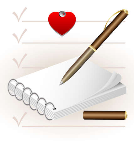 a small notepad, pen and a small paper heart Stock Vector - 9513733