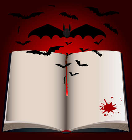 on a black-red background is a large open book, from which emerge dark bats Vector