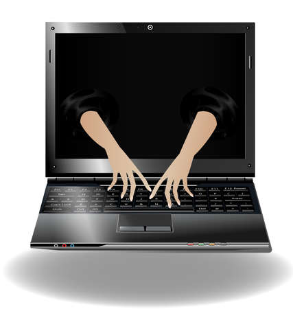 hands on keyboard: on a white background is a black notebook, the monitor looked out two abstract hand typing Illustration