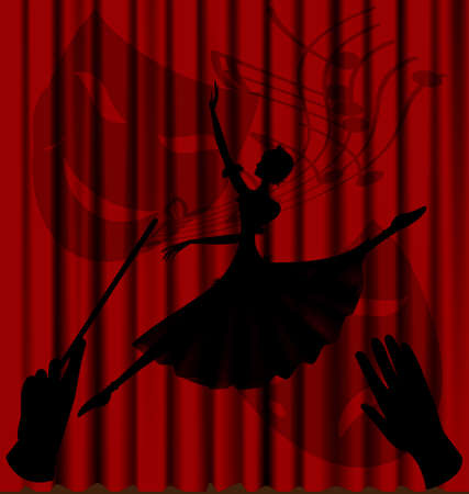 dramatics: against the background of red theater curtain is an abstract shadow ballerina, the hands of a conductor and comedy-tragedy masks
