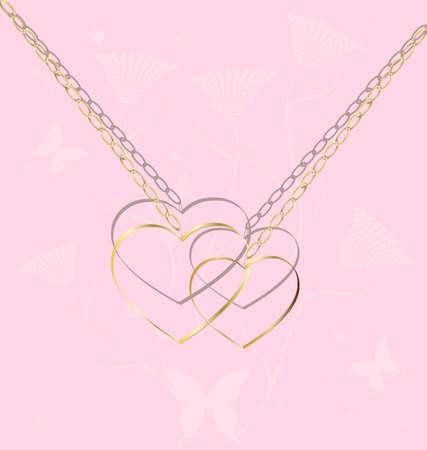 joyas de oro: sobre un fondo de color rosado abstracto son dos corazones de oro de una cadena