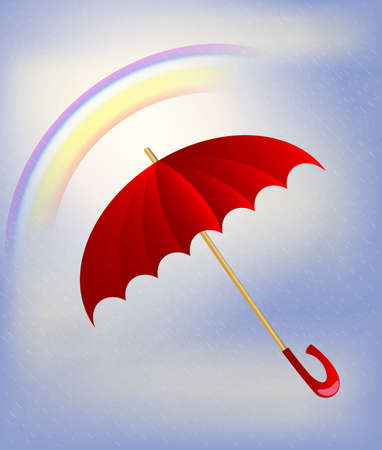 umbel: against the background of rainbow and sky is a big red umbrella Illustration