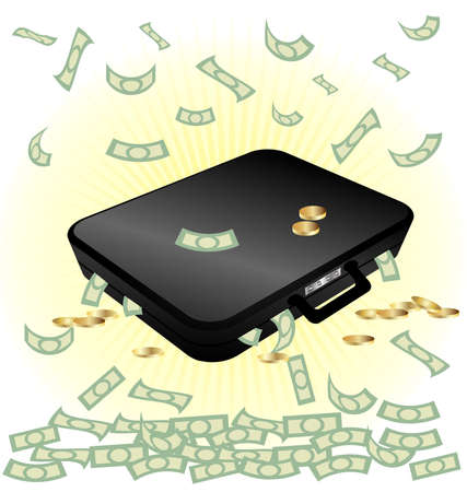 on a white background a big black suitcase with money Vector