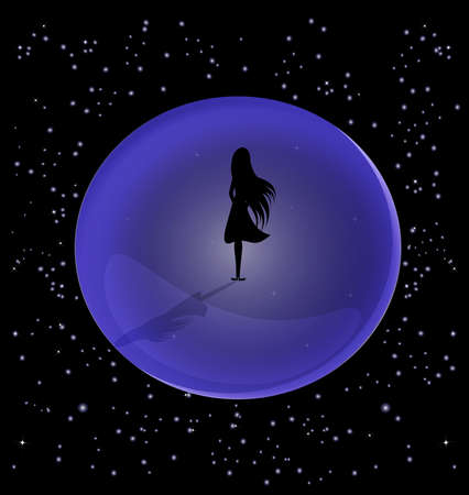 in the vast space is a lone female figure, encased in a ball Stock Vector - 9555506