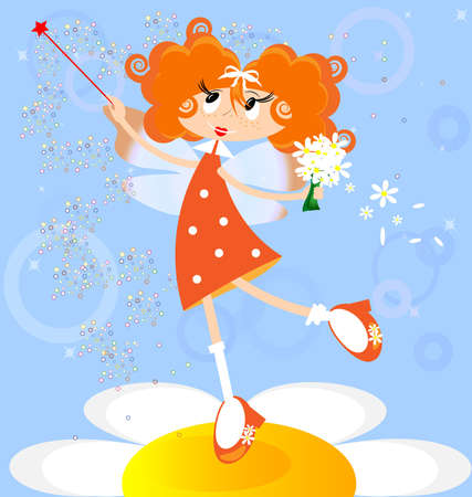 faerie: on a blue background red-haired girl fairy in a orange dress
