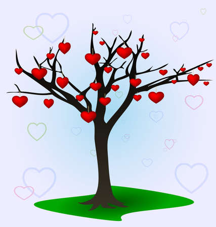 on a light background is an abstract tree, hung with hearts Vector