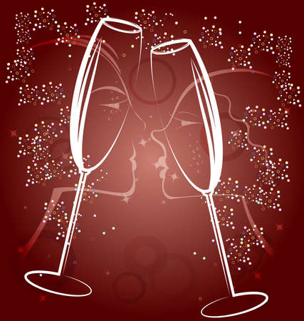 decoraded: on a brown background is an abstract painting: the male and female faces in profile and two celebratory glass of champagne