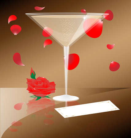 contra los pétalos de telón de fondo de caer escarlata tiene una Copa de champagne que junto a que es una rosa y una tarjeta de visita