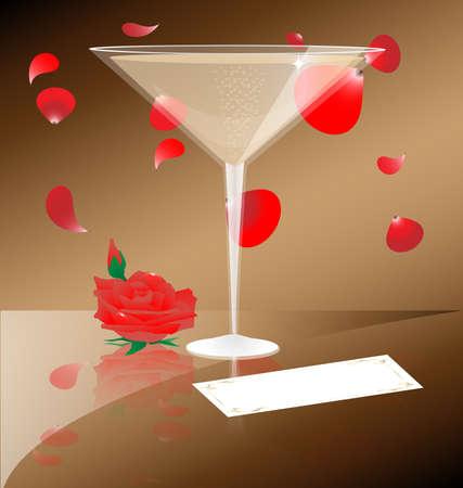 Contra los pétalos de telón de fondo de caer escarlata tiene una Copa de champagne que junto a que es una rosa y una tarjeta de visita Foto de archivo - 9555508