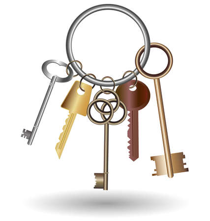 old key: against the white background is bunch of five keys