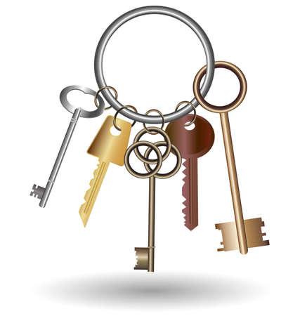 big five: contro lo sfondo bianco � il mazzo di cinque chiavi Vettoriali