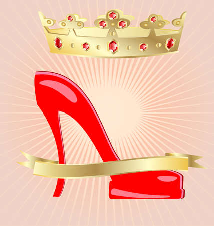 joyas de oro: sobre un fondo abstracto de un zapato femenino rojo grande, por encima de él hay una gran corona de oro con joyas rojos Vectores