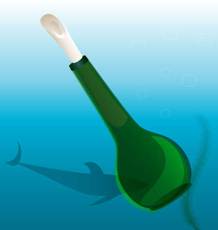 under water is a big bottle with an attached letter Illustration