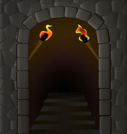 in an old stone wall is the entrance, lit by two torches