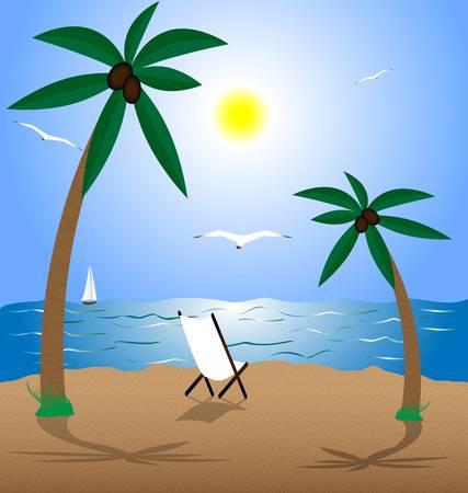 swimming bird: summer landscape: beach, sea, sun, palms and seagulls