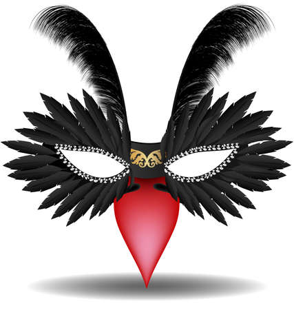 venetian: on a white background has a black half mask decorated with feathers and red beak