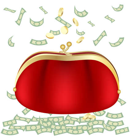 coin purse: on a white background a big red purse with money Illustration
