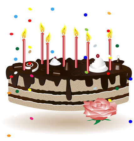 felicitate: on a white background have a birthday cake with candles