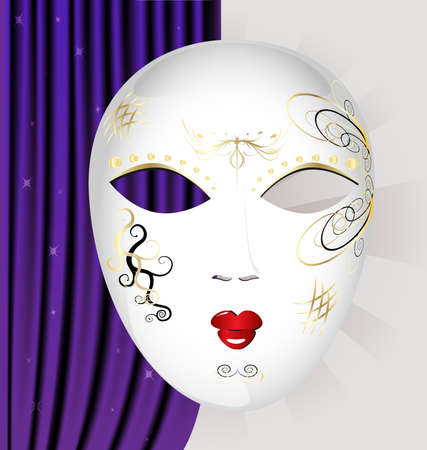 on an abstract background of a large white Venetian mask with black and gold pattern