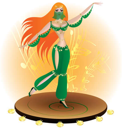 belly dancing: on a large tambourine dance red-haired oriental dancer in the green dress