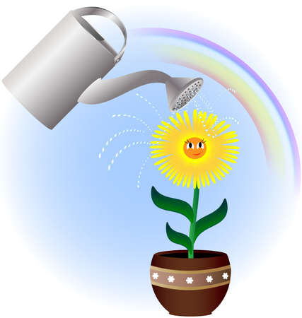afecto: contra el fondo del arco iris flor amarilla sombreado paraguas rojo sobre un gran regadera con agua