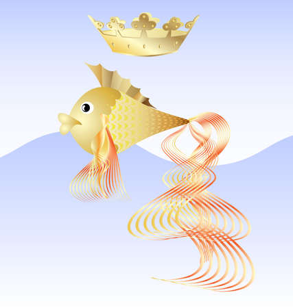 on a blue background is a goldfish with a golden crown Stock Vector - 9645528