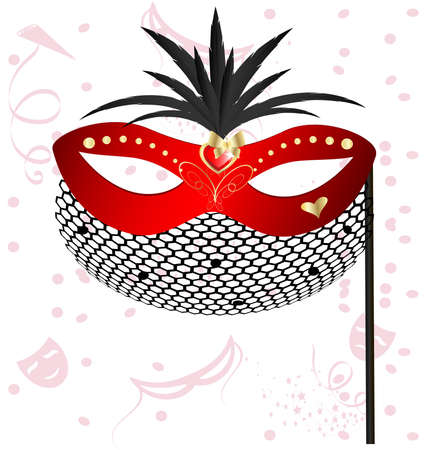 felicitate: on an abstract background of a carnival red half mask decorated with feathers and veil