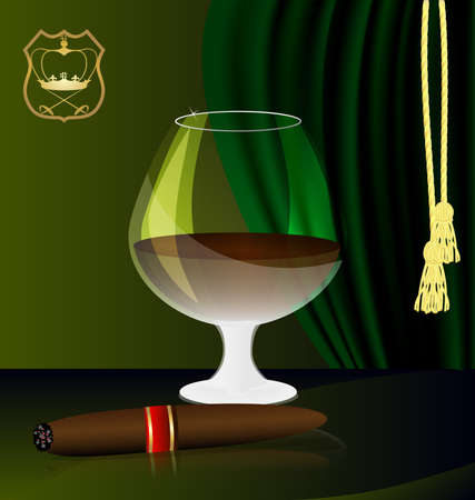 against the background of the emblem and green drapes have a glass of brandy and a cigar