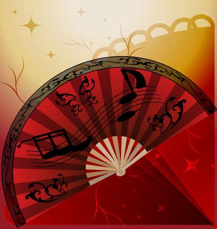 attribute: op een abstracte achtergrond van een grote rode Spaanse fan Stock Illustratie