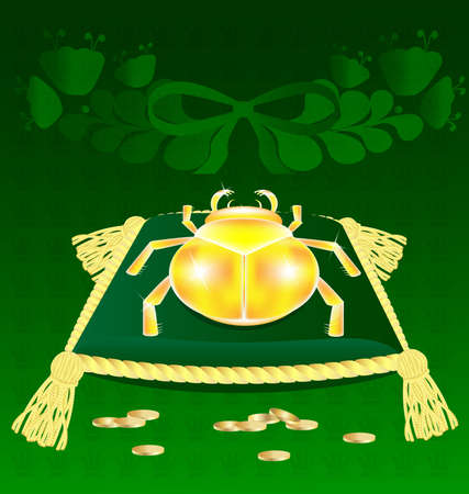 on a green background on a pillow with gold tassels is a symbol of wealth - gold beetle Vector