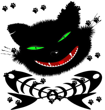 on an abstract background of a grotesque face big black cat and two crossed fish skeleton