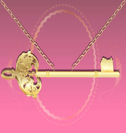 on an abstract pink background is a large golden key shaped with a gold chain Stock Vector - 9703372