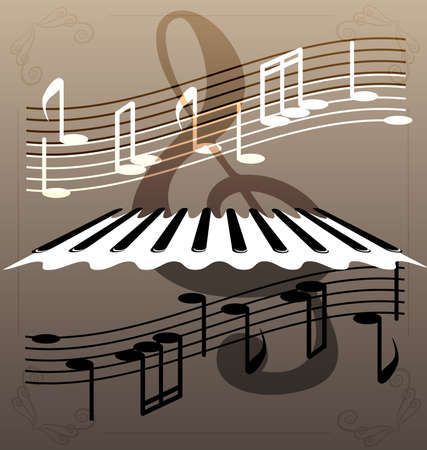 big figure: on an abstract background of a piano keys, notes and a large treble clef