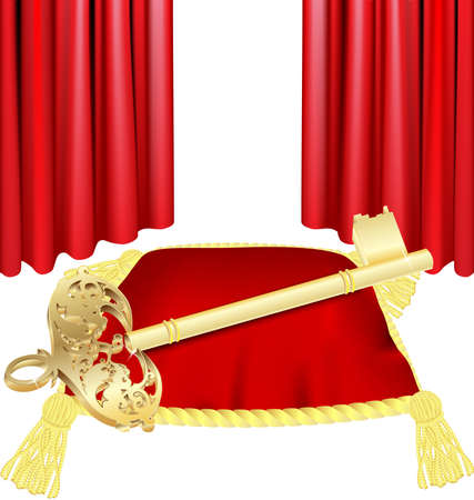 against the red curtain is a large red ceremonial pillow with gold tassels on it has a large golden key