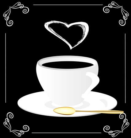 on a black background is an abstract white cup with steam in the form of heart Vector