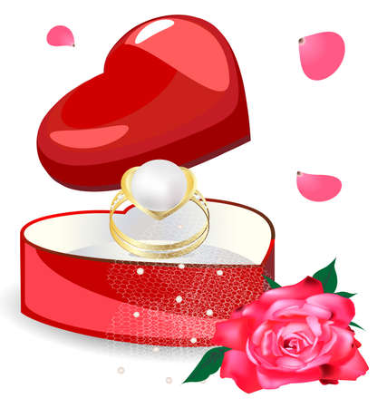 on a red background miniature gift box is a heart-shaped, in it a gold pearl ring and rose Stock Vector - 9703374