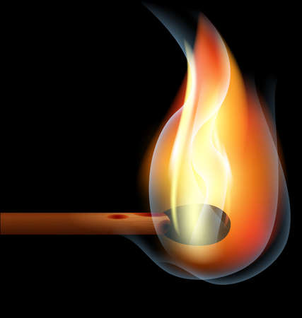combust: on a black background is a big burning match