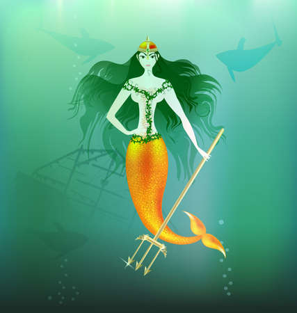 in the depths of the sea is a beautiful mermaid with a gold trident in her hand Vector