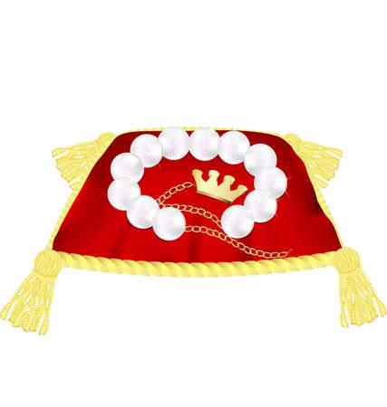 lux: against a white background large red pillow with gold tassels and a pearl bracelet decorated with a golden crown