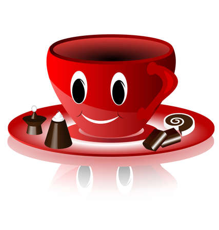 funny smiling red cup and chocolates, candy Vector